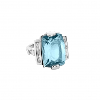 NILAK White Gold Aquamarine & Diamond Ring