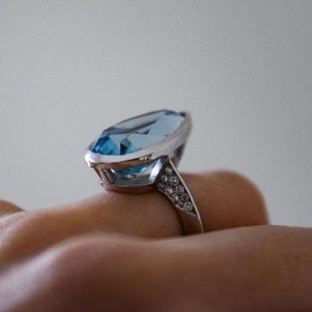 MARILYN White Gold Aquamarine & Diamond Ring detailed