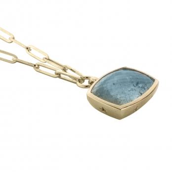 MARVALI Gold Aquamarine Necklace detailed