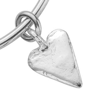 Silver Maxi Heart Bangle detailed