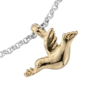 Silver & Gold Mini Turtle Dove Chain Bracelet detailed