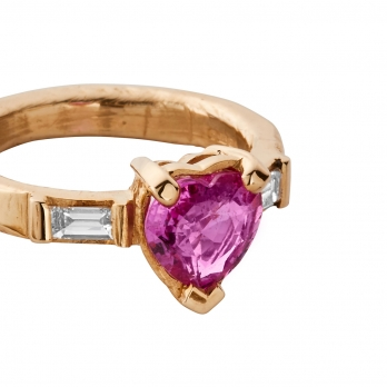 ORLA Gold Pink Sapphire & Diamond Heart Ring  detailed