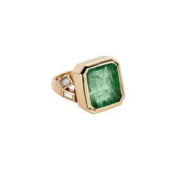 ORYN Gold Emerald & Diamond Split Shank Ring