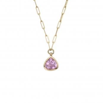 PETIT PÉTALE Gold Pink Tourmaline Trace Chain Necklace