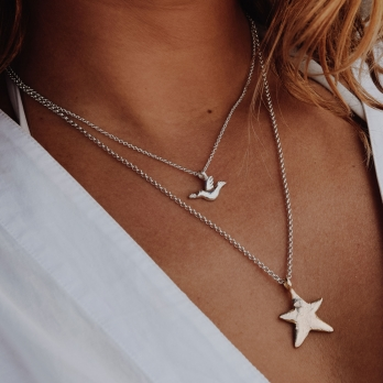 Silver & Gold Midi Star Necklace detailed