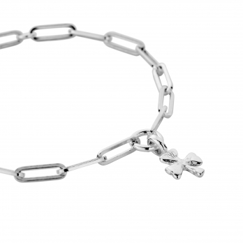 Silver Baby Shamrock Trace Chain Bracelet  detailed