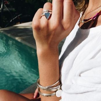 Silver Falling Mini Heart Ring detailed
