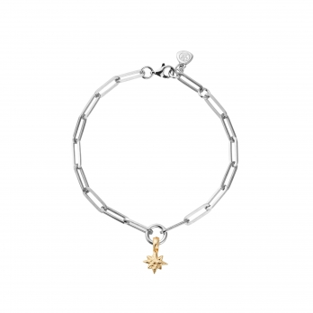 Silver & Gold Baby North Star Trace Chain Bracelet