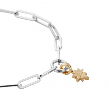 Silver & Gold Baby North Star Trace Chain Bracelet  detailed
