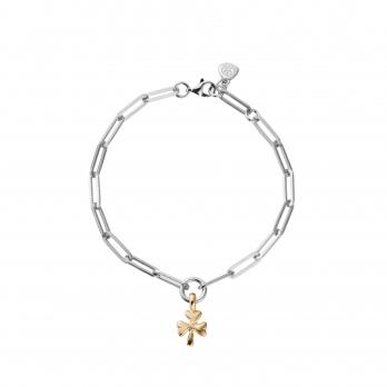 Silver & Gold Baby Shamrock Trace Chain Bracelet