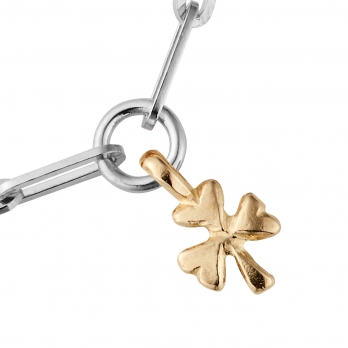 Silver & Gold Baby Shamrock Trace Chain Bracelet  detailed