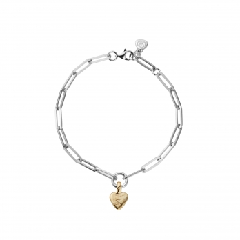 Silver & Gold Baby Heart Trace Chain Bracelet
