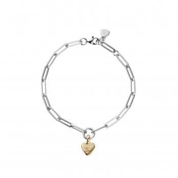 Silver & Gold Baby Heart Trace Chain Bracelet