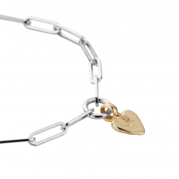 Silver & Gold Baby Heart Trace Chain Bracelet  detailed