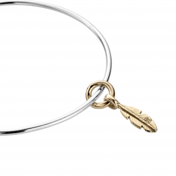 Silver & Gold Mini Feather Bangle detailed