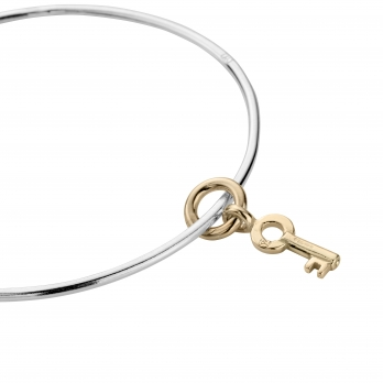 Silver & Gold Mini Dreamer's Key Bangle detailed