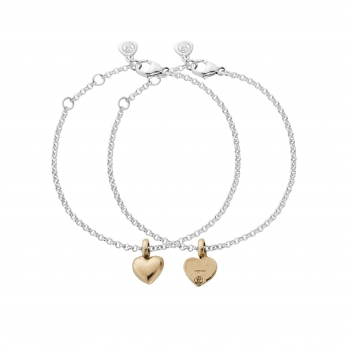 Silver & Gold Think of Me Heart Chain Bracelets