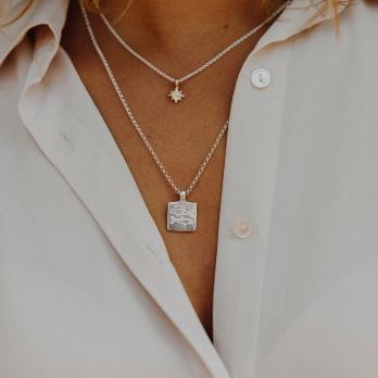 Silver Medium Pisces Horoscope Necklace detailed