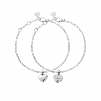 Silver Think of Me Heart Chain Bracelets
