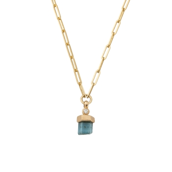 Small Gold Aquamarine & Diamond Trace Chain Necklace