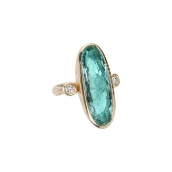 EROS Gold Aquamarine & Diamond Ring