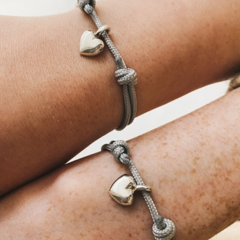 Silver Think of Me Heart Sailing Rope Bracelets detailed