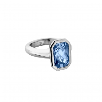 CANNA White Gold Blue Sapphire Ring