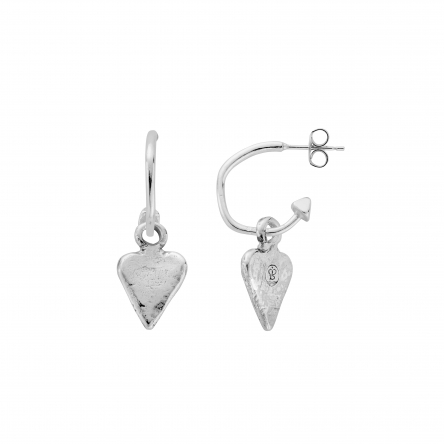 Mini Cupid Hoops with Mini Heart Charms detailed