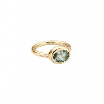 Gold Green Quartz Baby Treasure Ring