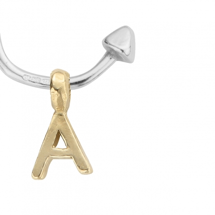 Mini Cupid Hoops With Gold Alphabet Charms detailed