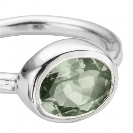 Silver Green Quartz Baby Treasure Ring detailed