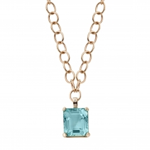 DEIA Gold Aquamarine & Diamond Necklace