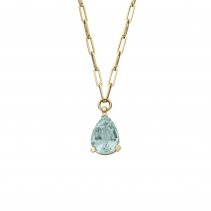 EZILI Gold Aquamarine Teardrop Necklace