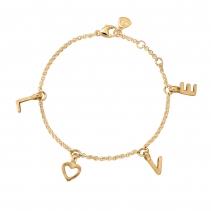 Gold Fixed Alphabet Chain Bracelet