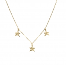 Gold Three Star Necklace
