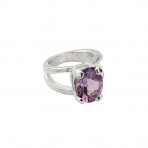 Silver Amethyst Maxi Claw Ring