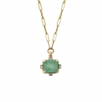 ARTARGATIS Gold Emerald & Diamond Claw Trace Chain Necklace