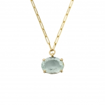 AUKAI Gold Aquamarine Claw Trace Chain Necklace