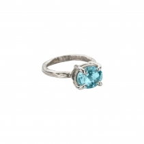 Silver Blue Topaz Claw Ring