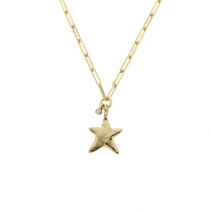 Gold Midi Star Trace Chain Necklace With Diamond
