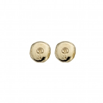Gold Mini Disc Stud Earrings
