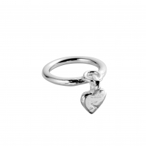 Silver Falling Baby Heart Ring