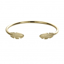 Gold Feather Cuff Bangle