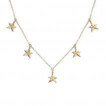 Gold Five Star Necklace