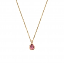 Gold GAIA Pink Tourmaline Teardrop Necklace