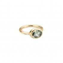 Gold Green Quartz Baby Treasure Ring