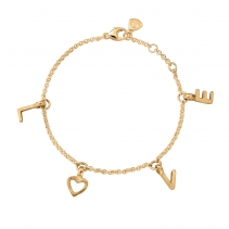 Gold Fixed Alphabet Chain Bracelet