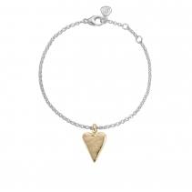 Silver & Gold Medium Heart Chain Bracelet