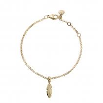 Gold Mini Feather Chain Bracelet
