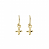 Gold Mini Cupid Hoops With Mini Kiss Charms